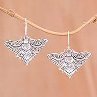 Sterling silver dangle earrings, 'Moth Majesty' - Sterling Silver Fluttering Moth Majesty Dangle Earrings