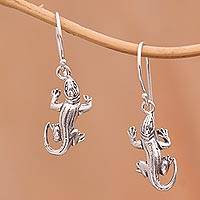 Sterling silver dangle earrings, 'Charming Cicak' - Sterling Silver Serene Lizard Cicak Dangle Earrings