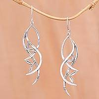 Sterling silver dangle earrings, 'Harmony Branches' - Sterling Silver Tree Harmony Branches Dangle Earrings