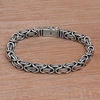 Mens sterling silver chain bracelet Masculine Path (Indonesia)
