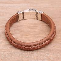 Leather wristband bracelet, 'Kuat in Soft Brown' - Indonesian Leather and Sterling Silver Wristband Bracelet