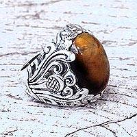Tiger's eye domed cocktail ring, 'Forest Tiger' - Balinese Sterling Silver and Tiger's Eye Domed Cocktail Ring