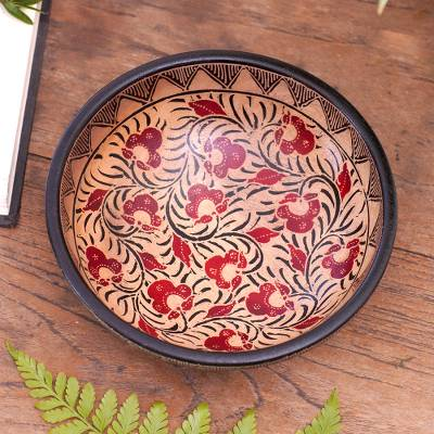 Batik wood decorative bowl, 'Lok Chan Flowers' - Floral Motif Batik Wood Decorative Bowl from Bali