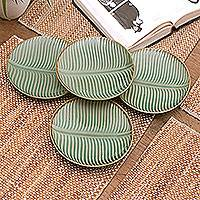 Ceramic dessert plates, 'Banana Vibes' (set of 4) - Ceramic Banana Leaf Dessert Plates (Set of 4) from Bali