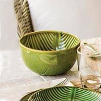Ceramic serving bowl, 'Banana Vibes' (7 inch) - Ceramic Banana Leaf Serving Bowl from Bali (7 Inch)