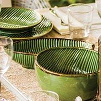 Ceramic serving bowl, 'Banana Vibes' (11 inch) - Ceramic Banana Leaf Serving Bowl from Bali (11 Inch)