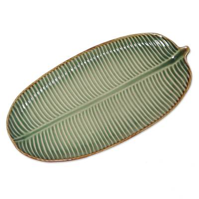Ceramic platter, 'Banana Vibes' - Handcrafted Ceramic Banana Leaf Platter from Bali