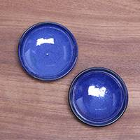 Ceramic condiment dishes, 'Bright Sky' (pair) - Pair of Blue Ceramic Condiment Dishes from Indonesia