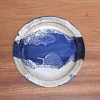 Ceramic platter, 'Ocean Tide' - Blue and White Ceramic Platter Crafted in Indonesia