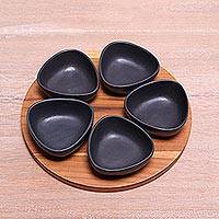 Ceramic appetizer set, 'Charcoal Petals' (set of 5) - Appetizer Set with Five Black Serving Bowls and a Tray