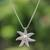 Cultured pearl pendant necklace, 'Galang Starfish in White' - Cultured Pearl Starfish Necklace in White from Bali thumbail