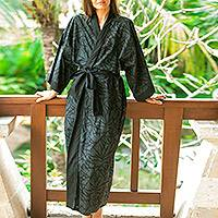 Cotton robe, 'Night Bamboo' - Bamboo Motif Cotton Robe in Black from Bali