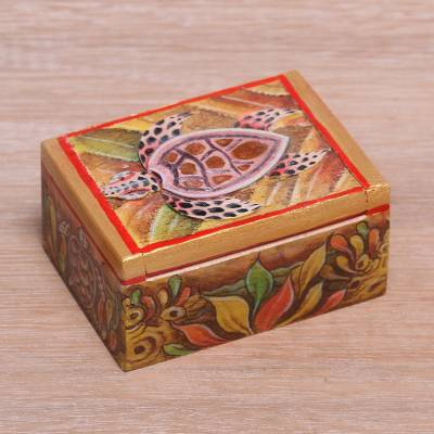 Wood mini jewelry box, 'Serangan Turtle' - Turtle-Themed Wood Mini Jewelry Box from Bali