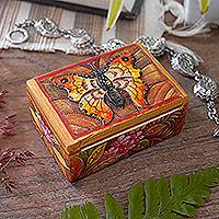 Wood mini jewelry box, 'Butterfly Paradise' - Hand Painted Mini Jewelry Box with Butterfly Motif