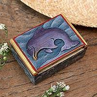 Wood mini jewelry box, 'Lovina Dolphin' - Dolphin-Themed Wood Mini Jewelry Box from Bali