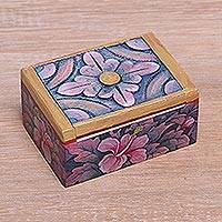 Wood mini jewelry box, 'Floral Delicacy' - Hand Painted Mini Jewelry Box with Floral Motifs