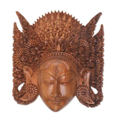 Handcrafted Novica Bali Brown Mahogany Wood Sita Mask