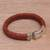 Leather wristband bracelet, 'Tranquil Weave in Orange' - Balinese Sterling Silver and Leather Wristband Bracelet (image 2b) thumbail