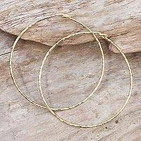 Gold plated sterling silver bangle bracelets, 'Knotted Gold' (pair) - Pair of 18k Gold Plated Sterling Silver Bangle Bracelets
