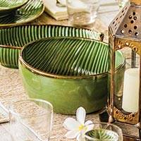 Ceramic serving bowl, 'Grooves' - Handcrafted Green Banana Leaf Pattern Ceramic Serving Bowl