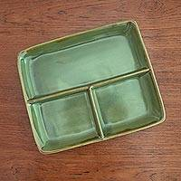 Ceramic tray, 'Leaf Legend' - Handcrafted Ceramic Tray in Green from Indonesia