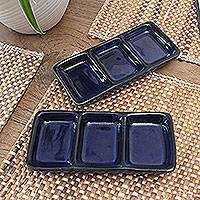 Ceramic condiment dishes, 'Indigo Nights' (pair) - Pair of Handmade Indigo Ceramic Condiment Dishes from Bali