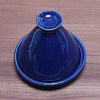 Ceramic mini tagine, 'Blue Francis' - Handcrafted Royal Blue Ceramic Mini Tagine from Bali