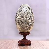 Wood statuette, 'Deities' - Black on Cream Buddha and Ganesha Wood Egg Statuette