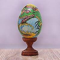 Wood statuette, 'Dragon Coil' - Hand-Painted Green and Yellow Dragon Wood Egg Statuette