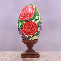 Wood statuette, 'Rose Blooms' - Hand-Painted Roses in Red Yellow Purple on Wood Egg Statuete