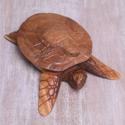 Decorative wood box, 'Turtle Secret' - Hand Carved Turtle Shaped Decorative Suar Wood Box from Bali