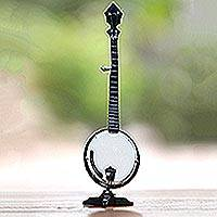 Decorative miniature banjo, 'Banjo' - Handcrafted Decorative Mahogany Miniature Banjo Figurine