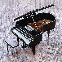 Decorative miniature piano, 'Baby Grand' - Handcrafted Decorative Mahogany Mini Grand Piano Figurine