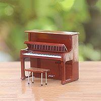 Decorative miniature piano, 'Upright Piano' - Handcrafted Decorative Mahogany Mini Upright Piano Figurine