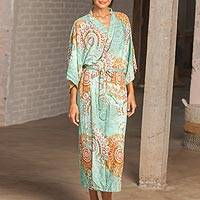 Rayon robe, 'Evening Melody' - Aqua and Spice Brown Rayon Long Robe Three-Quarter Sleeves