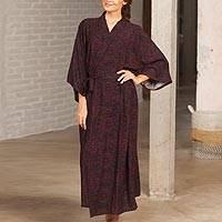 Rayon robe, 'Twilight Illusions' - Maroon and Azure Blue Rayon Long Robe Three-Quarter Sleeves