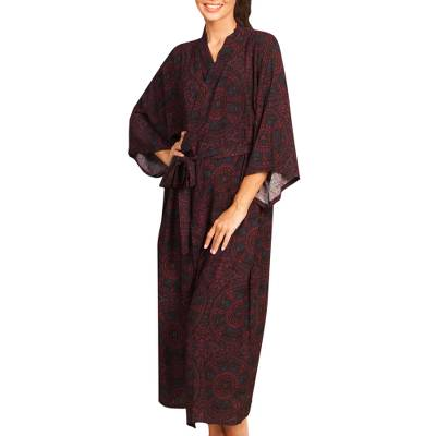 Maroon and Azure Blue Rayon Long Robe Three-Quarter Sleeves