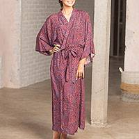 Rayon robe, 'Luxurious Paisley' - Burgundy Blue Paisley Rayon Long Robe Three-Quarter Sleeves