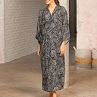 Rayon robe, 'Evening Luxury' - Black White Paisley Rayon Long Robe Three-Quarter Sleeves