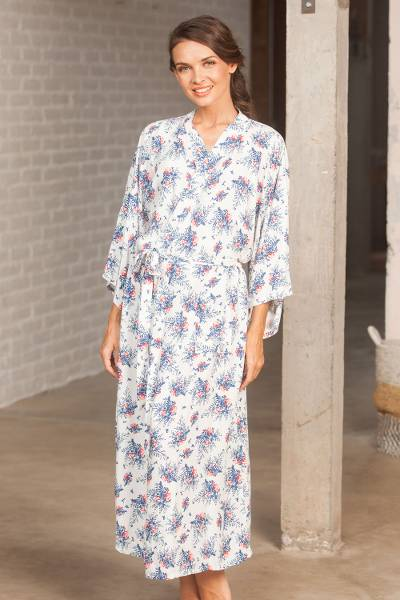 Rayon robe, 'Fresh Flowers' - White and Blue Floral Rayon Long Robe Three-Quarter Sleeves