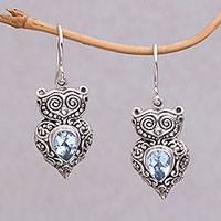 Blue topaz dangle earrings, 'Owl Teardrops' - Blue Topaz and Sterling Silver Owl Earrings from Java