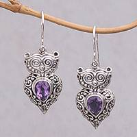 Amethyst dangle earrings, 'Owl Teardrops' - Amethyst and Sterling Silver Owl Earrings from Java