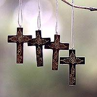 Mahogany wood ornaments, 'Jubilant Cross' (set of 4) - Mahogany Wood Hand Painted Cross Ornaments (Set of 4)