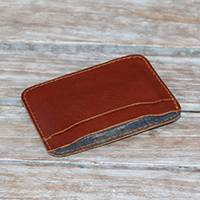 Men's leather wallet, 'Endek Business' - Men's Brown Leather Wallet with Money Clip Crafted in Bali