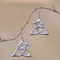 Sterling silver dangle earrings, 'Dragon Knot' - Bali Sterling Silver Celtic Trinity Knot Dragon Earrings