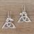 Sterling silver dangle earrings, 'Dragon Knot' - Bali Sterling Silver Celtic Trinity Knot Dragon Earrings (image 2b) thumbail