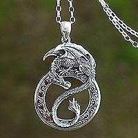Featured review for Mens garnet pendant necklace, Dragon Flare