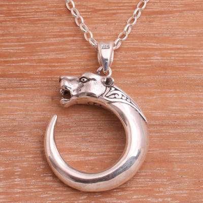 Sterling silver pendant necklace, 'Tiger Hooks' - Fair Trade Sterling Silver Tiger Theme Pendant Necklace