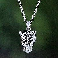 Sterling silver pendant necklace, 'Magnificent Panther' - Handmade Sterling Silver Panther Pendant Necklace