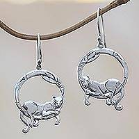 Sterling silver dangle earrings, 'Lounging Panther' - Bali Sterling Silver Lounging Panther Circle Dangle Earrings